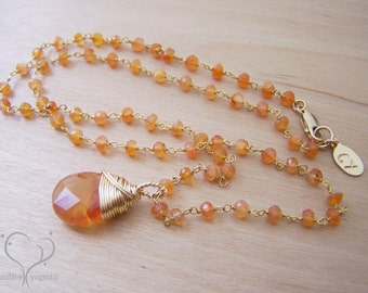Carnelian Gemstone Briolette Yellow Gold Filled Wire Wrapped Necklace / Gift for Her
