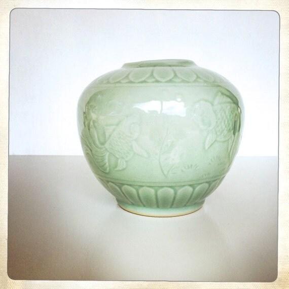 Celadon planter vase mint green koi fish by for Koi fish vase