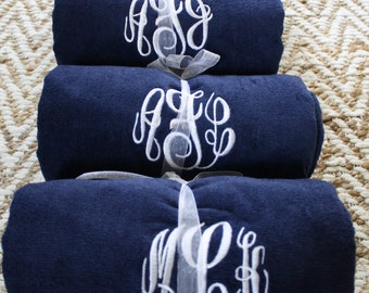 SET of Monogrammed Beach Towels-Available in 7 colors