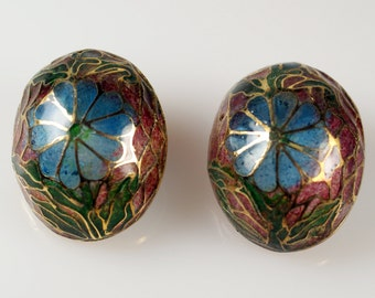 Plique a Jour Earrings, Chinese Enamel Earrings, Vintage Chinese Floral Plique a Jour Enamel Stained Glass Oval Post Earrings