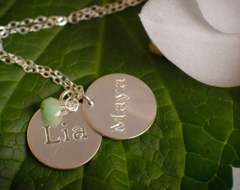 Name Disc Necklace - Two or More Sterling Silver or 14k Gold Filled Discs with Birthstones- Hammered or Smooth Discs