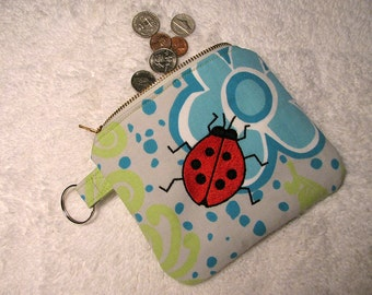 Small Ladybug Purse, Key Ring -  Embroidered Ladybug, Blue Flower Change Purse - Small Blue Floral Zippered Purse - Valentine Gift for Her