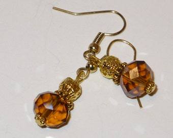 Butterscotch Czech crystal with gold filigree bead earrings.