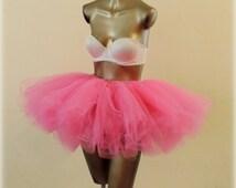 Adult tutu, bright pink tutu skirt, tulle tutu, rave edc raver outfit, ballerina tutu, dance tutu, color run tutu,80s clothes