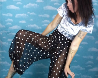 Black Sheer Opaque Harem Pants with White Polka Dots