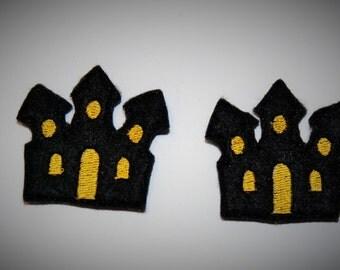 Set of 2 Haunted House Feltie Felt Embellishments