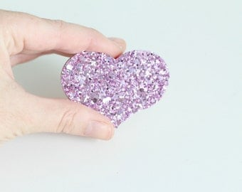 Purple Glitter Wooden Heart Brooch Pin, Love Heart Brooch Pin, Valentines Gift