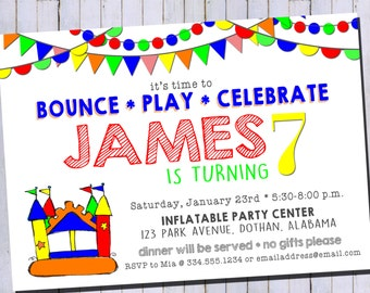 Jump Party Invitation | Inflatable Birthday Invitation | Bounce Birthday Invitation | Custom Digital Printable Invitation