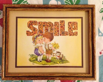 Adorable vintage wall picture inspirational smile