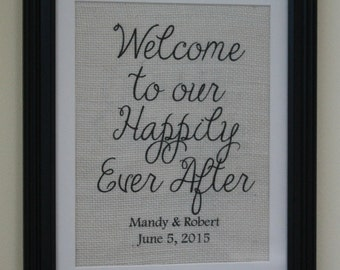 Welcome To Our Happily Ever After Personalized Bride Groom Burlap Wedding Sign Gallery Wall