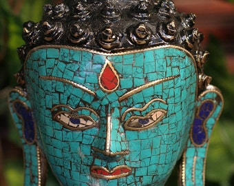 Mesmerizing Buddha Head Statue with Gorgeous Turquoise and Lapis Stones
