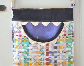 Cross Body Bag  Pocket Purse  Multicolor Purse  Handmade Purse Artistic Bag  Shopper Boho Bag Newsprint Fabric