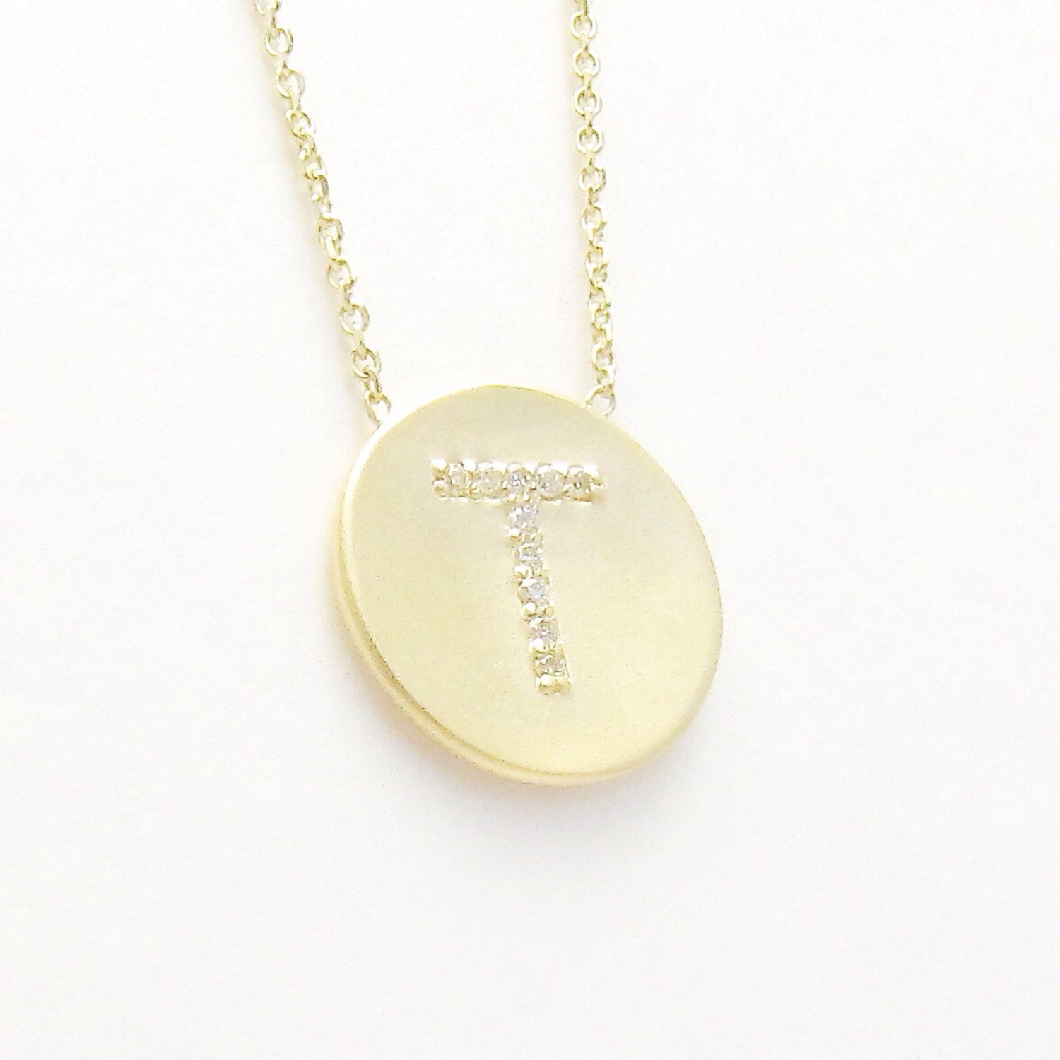 diamond initial disc necklace uppercase with side chain. Black Bedroom Furniture Sets. Home Design Ideas