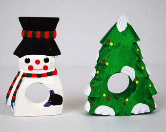 Winter Snowman and Tree Painted Wooden Napkin Rings