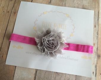 Gray newborn headband, baby headband headband, pink headband, adult gray headband