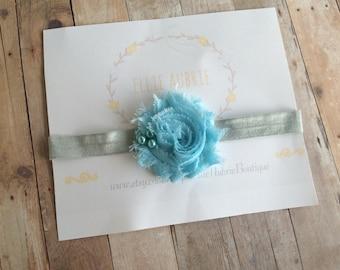 Baby headband , Blue flower headband, baby  headband, blue headband