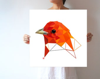 Large wall print, Large art, Large print, Geometric art, Geometric print, Large geometric, Orange art, Bird, Triangles art, Summer Tanager