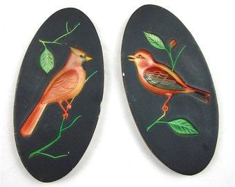 Vintage Chalkware Bird Plaque Pair 1960s