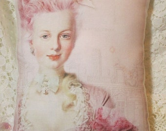 Marie ANTOINETTE Pillow, Chic Pink Hair DECOR, Shabby Marie, Shabby Paris, Marie Pillow  #C40