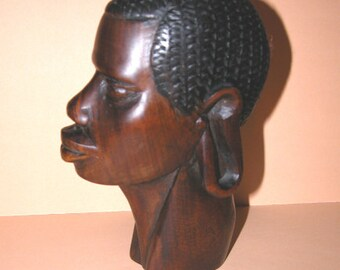 AfricanTribal Hand Carved Mahogany Woman's Head Figurine