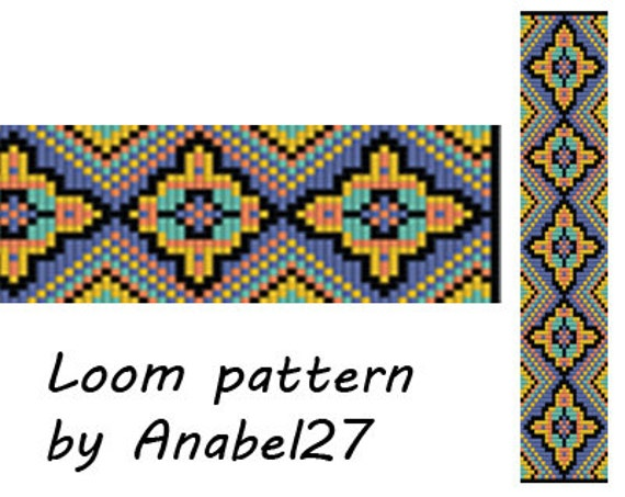 loom bead pattern square stitch pattern ethnic by anabel27shop