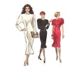 Dress Pattern Vogue 7039 Size 12 Bust 34 Close Fitting Straight Dress Mock Front Tuck Womens Vintage 80s Sewing Pattern UNCUT/FF