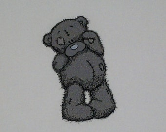 SHY TEDDY BEAR Embroidered Quilt Block