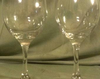 2 Gold Rimmed Wine Glasses, Vintage Bride & Groom Glasses