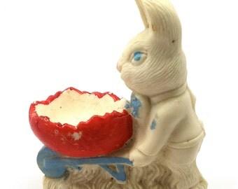 Easter Bunny, Salt Cast, Easter Decoration, Rabbit, 1940's, Rare