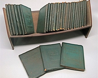 Little Leather Library Collection Original Leather Shelf c1920
