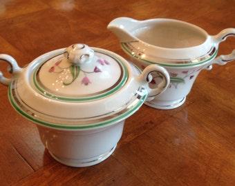 "Syracuse China ""Coralbel"" Pattern Cream and Sugar Set, Creamer, Covered Sugar Bowl, Green Trim, Platinum Trim"