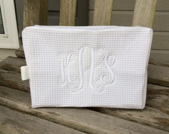 White Waffle Weave Cosmetic Bag/Bridesmaid's Gifts/Shower Gifts