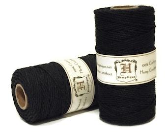 Hemp Cord, Black, 1.8mm Macrame Cord, Packaging String, Hemp Craft Cord, Beading Cord, 48lb Hemp Twine, Thick Hemp