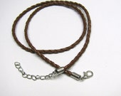 """Brown Braided Faux Leather Pendant Cord, Silver Lobster Clasp, Adjustable Length 18"""" - 20 """" or 22"""" - 24"""", Necklace Charm Pendant Cord"""