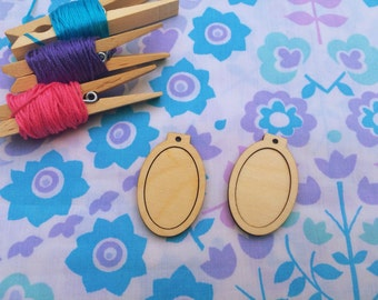 2  mini embroidery hoops for pendants/frames