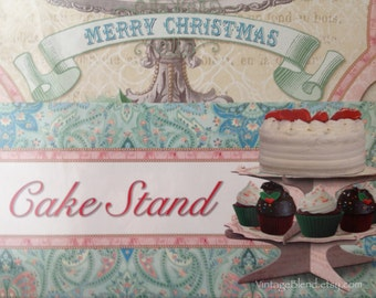 Paper Cake Stand,Double Tier Cake and Cupcake Stand, Christmas Cardboard Table Decor, Holiday Cake Party Supply