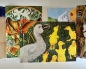 5 Animal Greeting Card Designs from original art  (10 card pack)