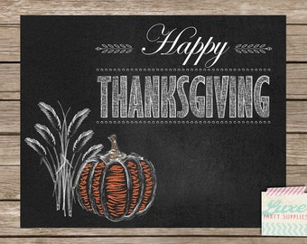 Printable Chalkboard Thanksgiving Decoration - Instant Download - Happy Thanksgiving Print - Pumpkin Harvest Decor - Fall Chalkboard Sign