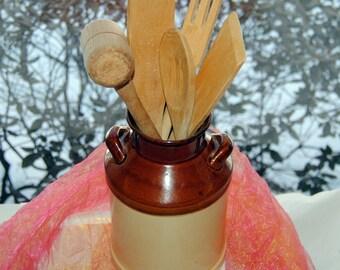 Vintage Kitchen Utensils, Pottery Jug - Space Saver - Terrific!