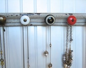 Jewelry Organizer on Reclaimed Wood with Five Unique Knobs