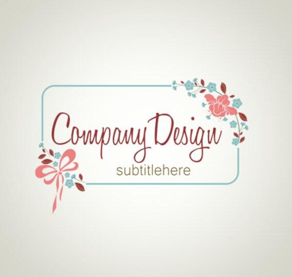 premade logo design and watermark photography logo flower logo frame logo bow logo floral logo custom