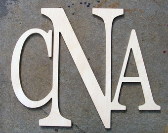 """28"""" wide Modern Connected Monogram, home decor, connected monogram, unpainted, wall hanging"""
