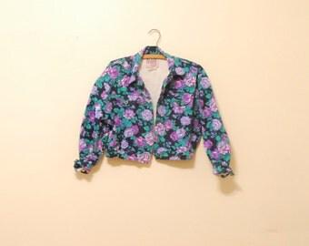 Floral Print Cropped Denim Jacket - 1980s