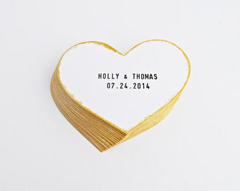 FREE SHIPPING, Set of 50 wedding favor tag / label /cards, Personalized hearts tags, Customize your name and date, Wedding handmade tags