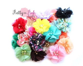 GRAB BAG - Kaitlyn Collection Pearl Chiffon Flowers - You Choose Quantity - We Choose Colors