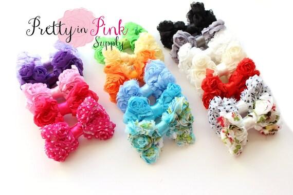 Mix GRAB BAG Chiffon Rosette Bows- Rosette Fabric Shabby Bow Flower- Choose Quantity- Rosette Bow...Shabby Flower
