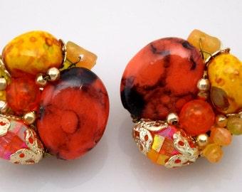 Orange Yellow Plastic Bead Cluster Earrings Marked Hong Kong 1960s