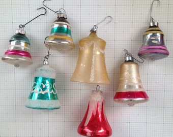 Vintage Shiny Brite Christmas Bell Ornaments