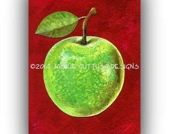Fruit Art Print Green Apple Art 5 X 7 Kitchen Art Granny