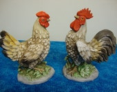Chickens Hen and Rooster Porcelain Homco Figurines